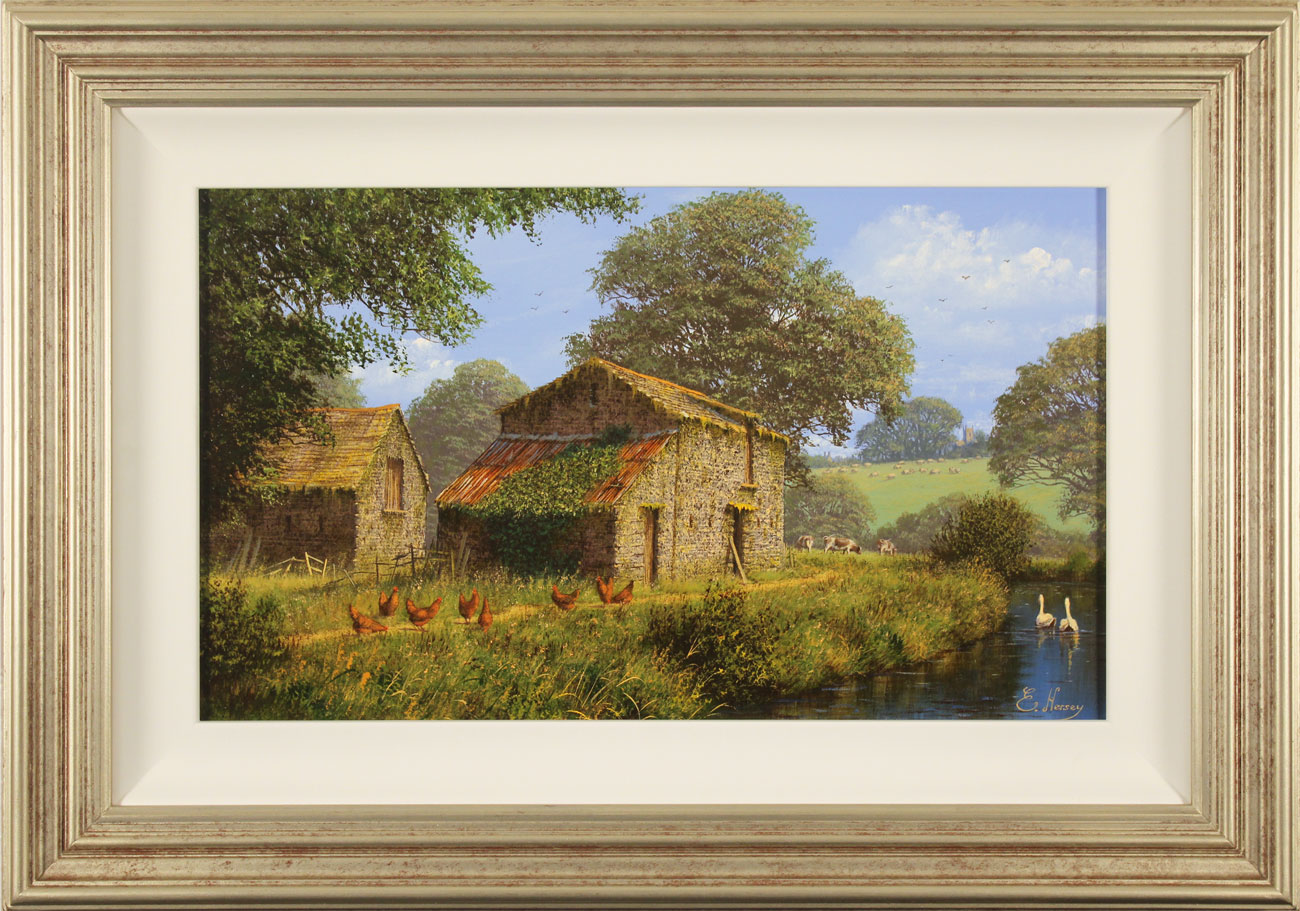 Edward Hersey, Original oil painting on canvas, Waterside Farm Click to enlarge