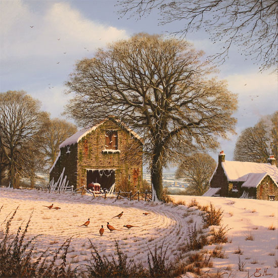 Edward Hersey, Original oil painting on canvas, A Light Dusting, Yorkshire Dales No frame image. Click to enlarge