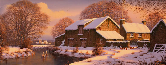 Edward Hersey, Signed limited edition print, Winter Warmth, Yorkshire Dales No frame image. Click to enlarge