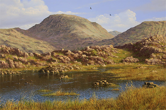 Edward Hersey, Original oil painting on panel, Summer's Glory, Innominate Tarn  No frame image. Click to enlarge