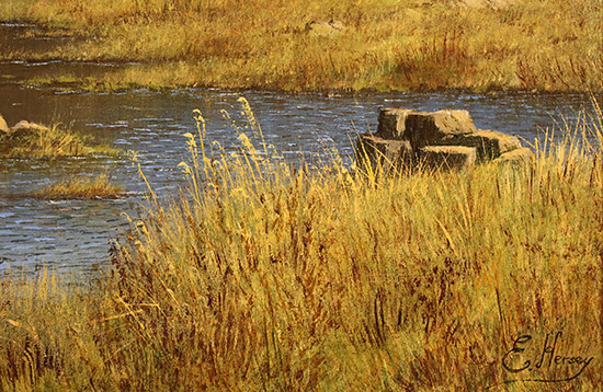 Edward Hersey, Original oil painting on panel, Summer's Glory, Innominate Tarn  Signature image. Click to enlarge