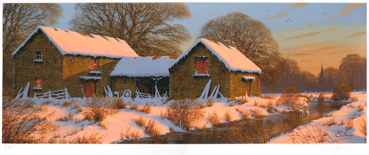 Edward Hersey, Signed limited edition print, The Warmth of Winter, Yorkshire Dales Click to enlarge