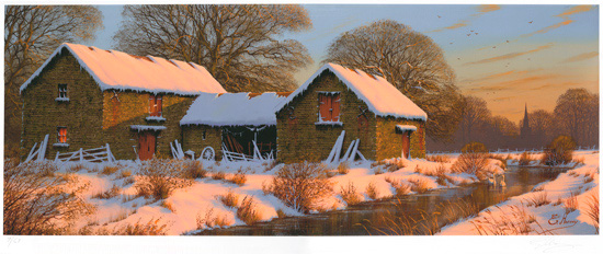 Edward Hersey, Signed limited edition print, The Warmth of Winter, Yorkshire Dales No frame image. Click to enlarge