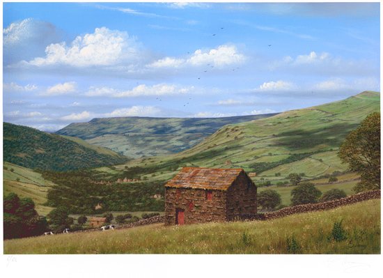 Edward Hersey, Signed limited edition print, Muker, North Yorkshire
