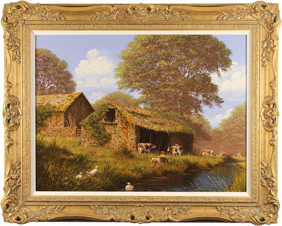 Edward Hersey, Original oil painting on canvas, Grazing by the River, The Cotswolds
