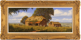 Edward Hersey, Original oil painting on canvas, Hillside Farm, North Yorkshire