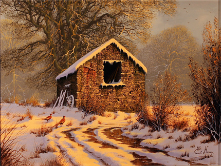 Edward Hersey, Cotswolds Farm, Original Oil Painting on Canavs