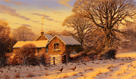 Edward Hersey, Original oil painting on canvas, Cotswolds Farm in Snow No frame image. Click to enlarge
