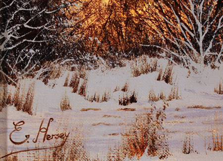 Edward Hersey, Original oil painting on canvas, Cotswolds Farm in Snow Signature image. Click to enlarge
