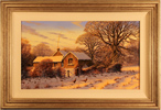 Edward Hersey, Original oil painting on canvas, Cotswolds Farm in Snow Medium image. Click to enlarge