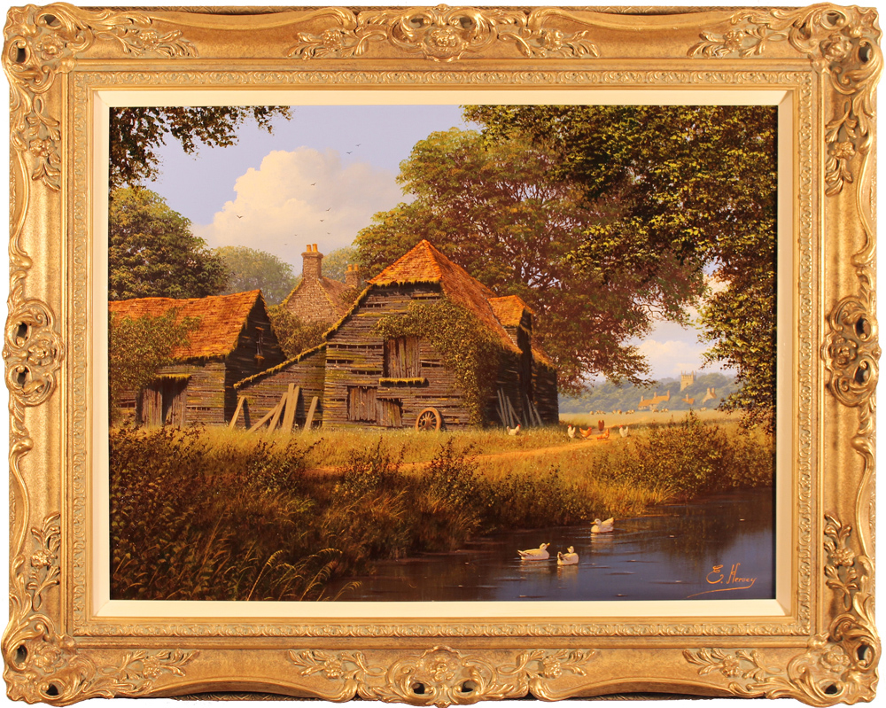 Edward Hersey, Original oil painting on canvas, Cotswolds Farm Click to enlarge