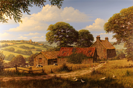 Edward Hersey, Original oil painting on canvas, Cotswolds Farm No frame image. Click to enlarge