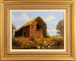 Edward Hersey, Original oil painting on canvas, Cotswolds Barn