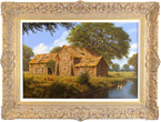 Edward Hersey, Original oil painting on canvas, Cotswolds Barn and Stream