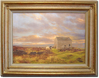 Frank Wright, Original oil painting on canvas, Moors and Sheep