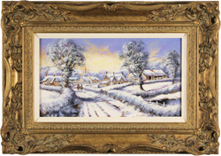 Gordon Lees, Original oil painting on canvas, Winter in the Village, The Cotswolds