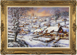 Gordon Lees, Original oil painting on canvas, A Snowy Evening at the Crossways Inn