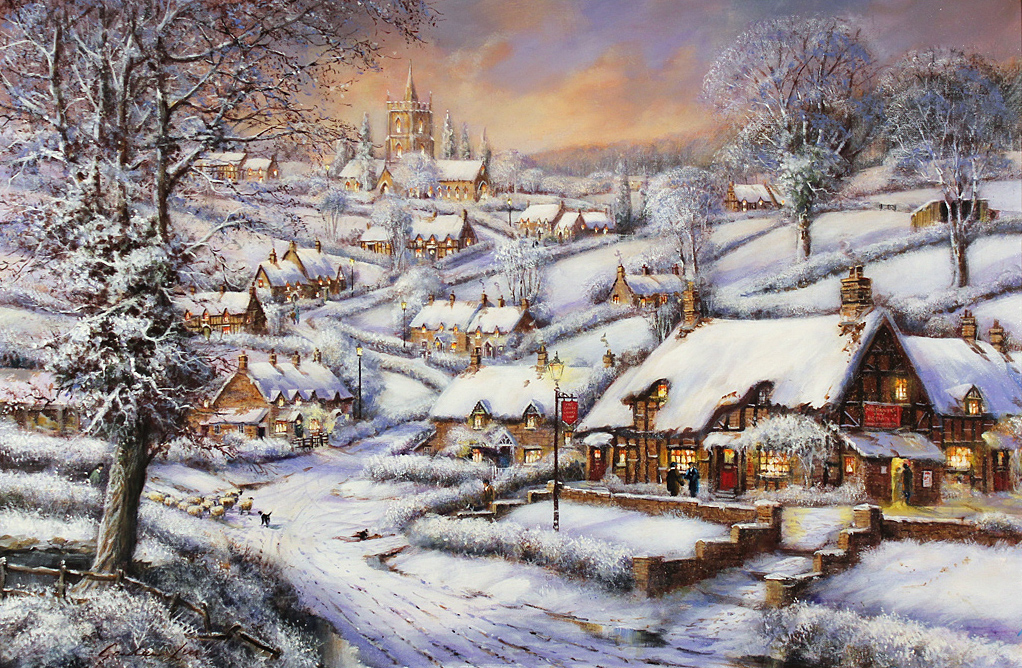 Gordon Lees, Signed limited edition print, A Snowy Evening at the Crossways Inn Click to enlarge