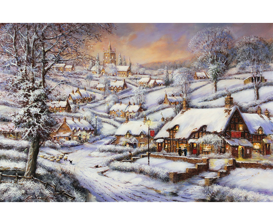 Gordon Lees, Signed limited edition print, A Snowy Evening at the Crossways Inn No frame image. Click to enlarge