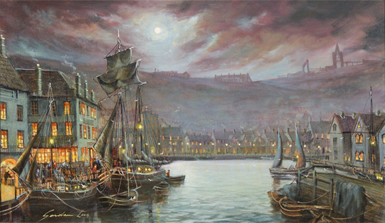 Gordon Lees, Original oil painting on canvas, Harbour Lights, Whitby No frame image. Click to enlarge
