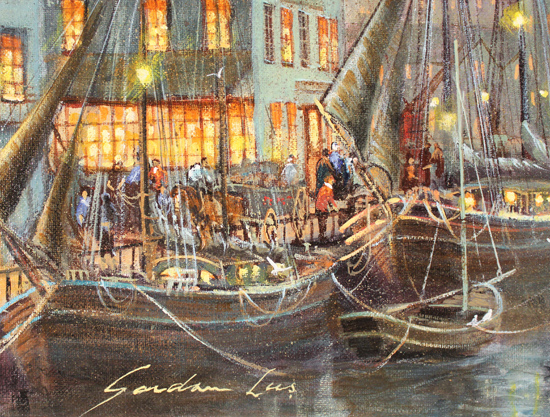 Gordon Lees, Original oil painting on canvas, Harbour Lights, Whitby Signature image. Click to enlarge