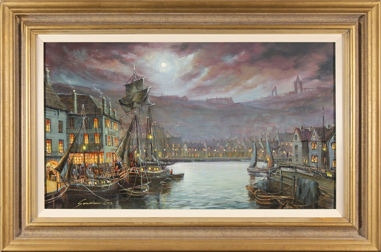 Gordon Lees, Original oil painting on canvas, Harbour Lights, Whitby Click to enlarge
