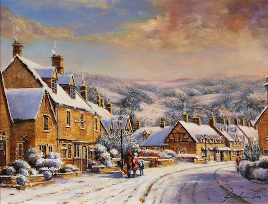 Gordon Lees, Original oil painting on panel, A Snowy Broadway, The Cotswolds