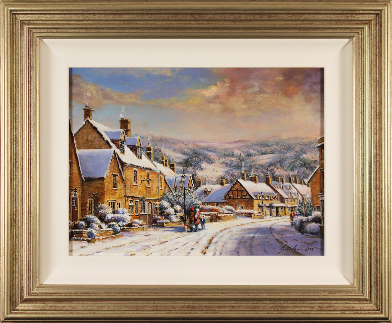 Gordon Lees, Original oil painting on panel, A Snowy Broadway, The Cotswolds Click to enlarge