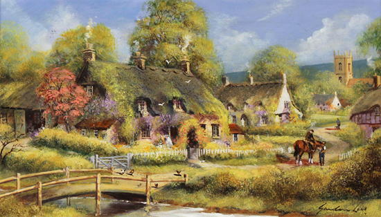 Gordon Lees, Original oil painting on panel, Spring Afternoon, The Cotswolds No frame image. Click to enlarge