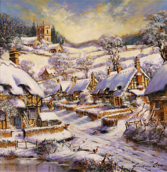 Gordon Lees, Original oil painting on panel, Winter Morning, The Cotswolds