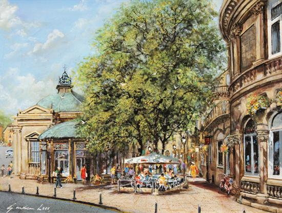 Gordon Lees, Original oil painting on panel, Café Days, Harrogate No frame image. Click to enlarge