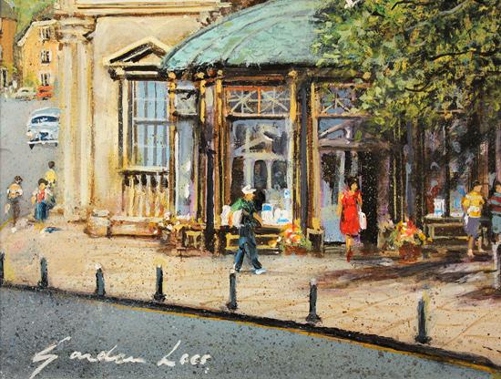 Gordon Lees, Original oil painting on panel, Café Days, Harrogate Signature image. Click to enlarge