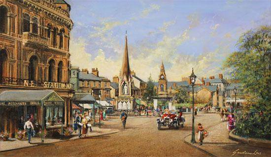 Gordon Lees, Original oil painting on panel, Old Station Square, Harrogate No frame image. Click to enlarge