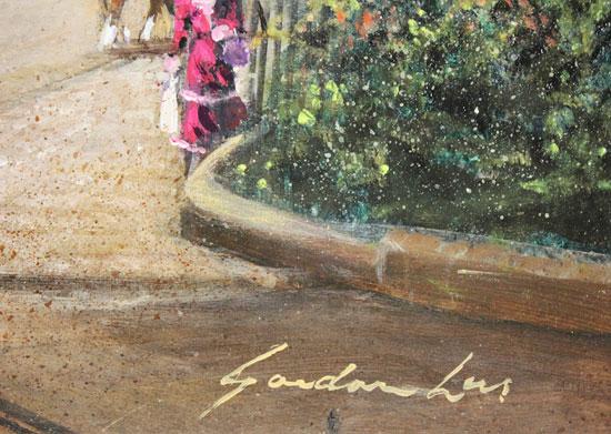 Gordon Lees, Original oil painting on panel, Old Station Square, Harrogate Signature image. Click to enlarge