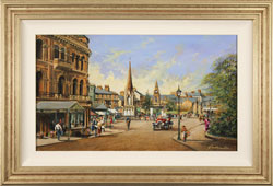 Gordon Lees, Original oil painting on panel, Old Station Square, Harrogate