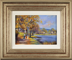 Gordon Lees, Original oil painting on panel, Autumn Lake