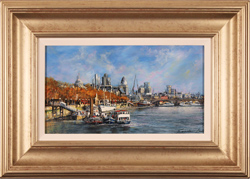 Gordon Lees, Original oil painting on panel, Thames Embankment, London
