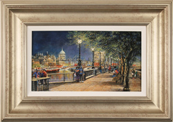 Gordon Lees, Original oil painting on panel, Queen's Walk, London