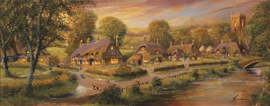Gordon Lees, Original oil painting on panel, A Cotswolds Evensong