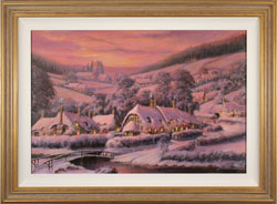 Gordon Lees, Original oil painting on panel, Rose Gold Glow, The Cotswolds