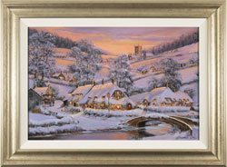 Gordon Lees, Original oil painting on panel, Soft Winter Glow, The Cotswolds