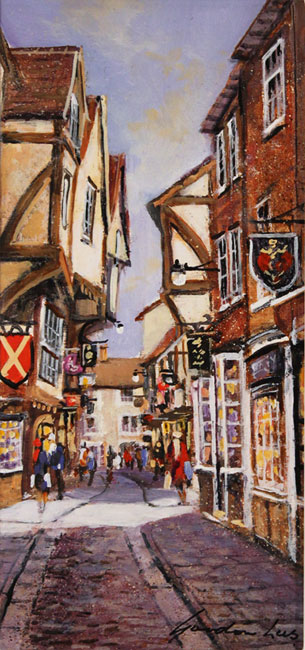 Gordon Lees, Original oil painting on panel, The Shambles, York No frame image. Click to enlarge