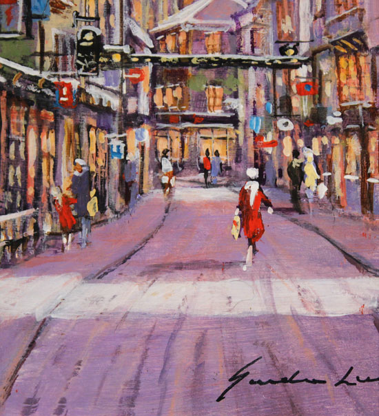 Gordon Lees, Original oil painting on panel, Stonegate, York No frame image. Click to enlarge