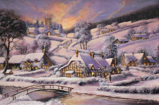 Gordon Lees, Original oil painting on panel, A Winter's Eve No frame image. Click to enlarge