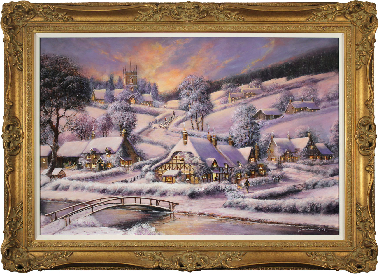 Gordon Lees, Original oil painting on panel, A Winter's Eve Click to enlarge