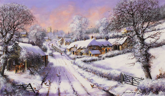 Gordon Lees, Original oil painting on canvas, Fading Light of a Winter's Eve