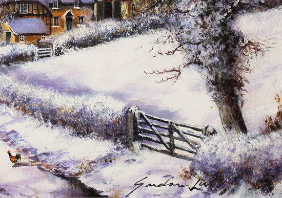 Gordon Lees, Original oil painting on canvas, Fading Light of a Winter's Eve Signature image. Click to enlarge