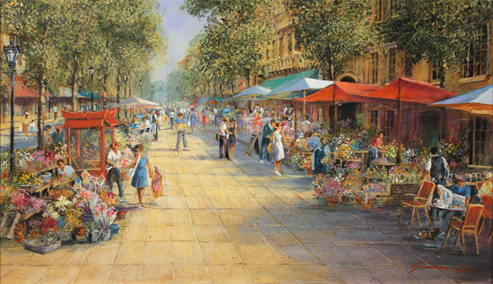 Gordon Lees, Original oil painting on panel, Parisian Boulevard No frame image. Click to enlarge