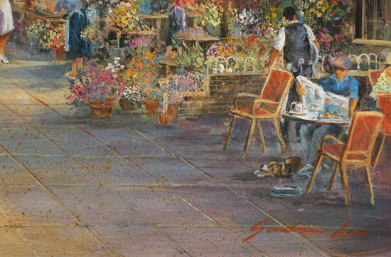 Gordon Lees, Original oil painting on panel, Parisian Boulevard Signature image. Click to enlarge