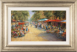 Gordon Lees, Original oil painting on panel, Parisian Boulevard